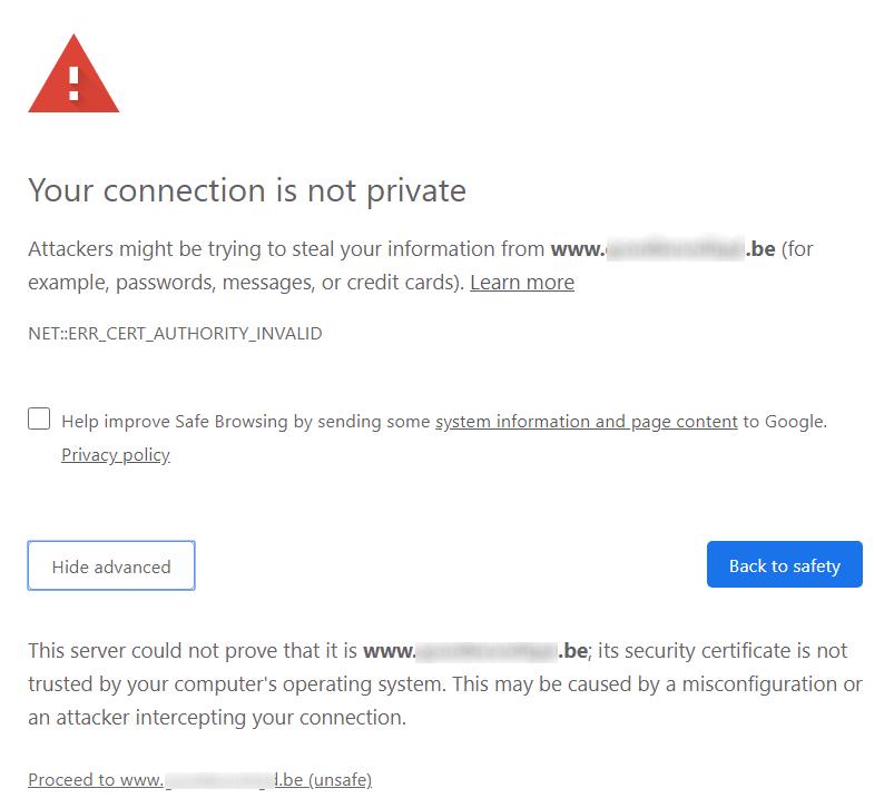 Toch doorgaan naar een onveilige website