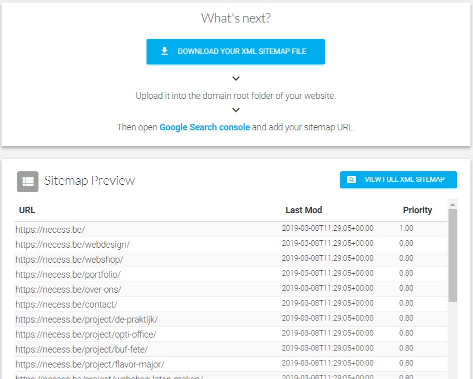 Je website weergeven aan Google met een online gegenereerde sitemap