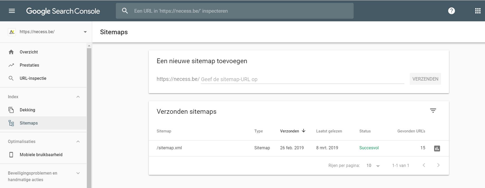 Een sitemap indienen bij de Google Search Console