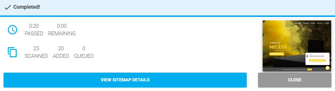 Online gegenereerde sitemap