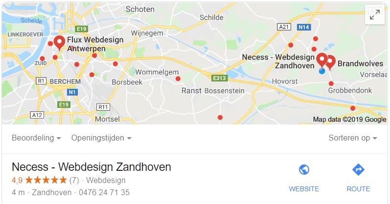 Google mijn bedrijf vermelding van Necess