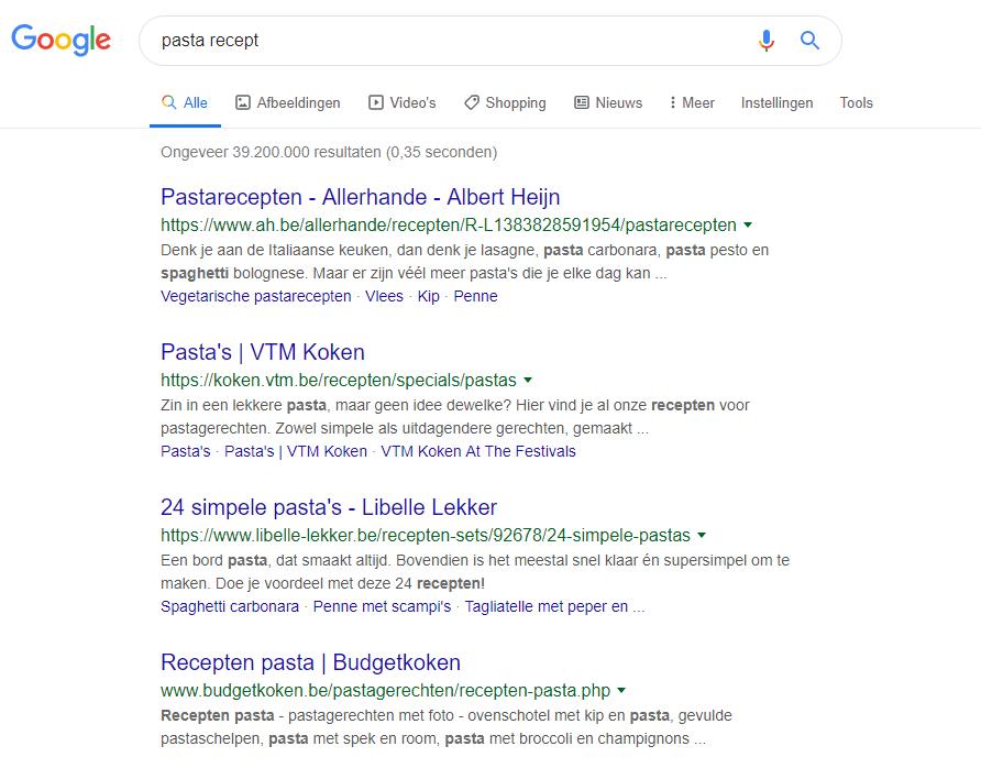 12 SEO tips om hoger te scoren in Google - Voorbeeld