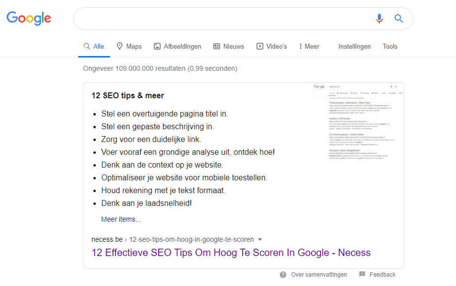 SEO tips lijst featured snippet