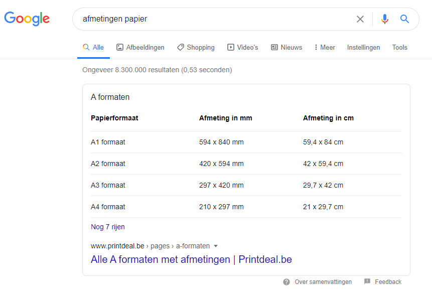 Tabel featured snippet om hoger te scoren in Google